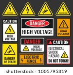 danger high voltage signs | Shutterstock .eps vector #1005795319