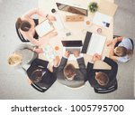 business people sitting and... | Shutterstock . vector #1005795700