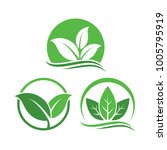 leaf logo design vector set | Shutterstock .eps vector #1005795919