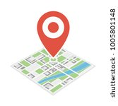 city map with red pin. location ... | Shutterstock .eps vector #1005801148