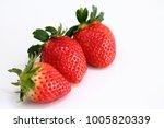 strawberry white background | Shutterstock . vector #1005820339