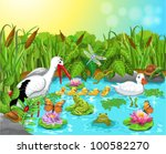 wild life in the pond | Shutterstock .eps vector #100582270