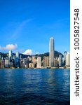hong kong skyline and victoria...   Shutterstock . vector #1005827548