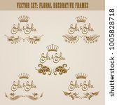 set of golden hand drawn floral ... | Shutterstock .eps vector #1005828718