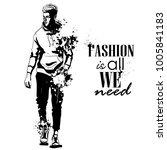 vector man model dressed | Shutterstock .eps vector #1005841183