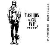 vector man model dressed | Shutterstock .eps vector #1005841186