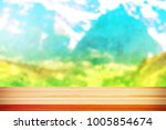 wood table top on blur... | Shutterstock . vector #1005854674