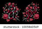 snake and red roses.... | Shutterstock .eps vector #1005860569