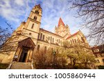 mexican church  st. francis of... | Shutterstock . vector #1005860944