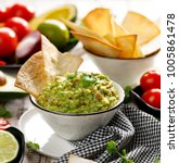 guacamole is a traditional... | Shutterstock . vector #1005861478