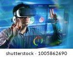 adult man using generic... | Shutterstock . vector #1005862690