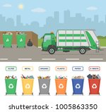 garbage truck on the street in... | Shutterstock .eps vector #1005863350