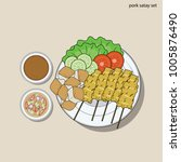pork satay with vegetable and... | Shutterstock .eps vector #1005876490