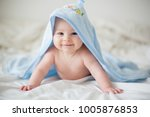 cute little baby boy  relaxing... | Shutterstock . vector #1005876853