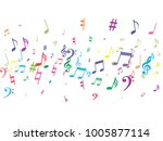 colorful flying musical notes... | Shutterstock .eps vector #1005877114