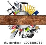 diy tools collage concept... | Shutterstock . vector #1005886756
