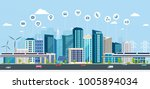 smart city with business signs. ... | Shutterstock .eps vector #1005894034