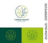 cannabis round circle logo... | Shutterstock .eps vector #1005895150
