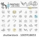 fantasy line icons with minimal ... | Shutterstock .eps vector #1005918853