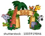beautiful zoo entrance gate... | Shutterstock .eps vector #1005919846