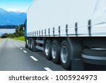 3D render illustration of the semi-truck driving the highway with motion blur effect - stock photo