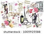 set of paris illustrations with ... | Shutterstock .eps vector #1005925588