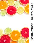 citrus fruit slices isolated on ... | Shutterstock . vector #1005925930