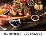 italian antipasti wine snacks... | Shutterstock . vector #1005932998
