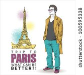 young stylish guy on a eiffel... | Shutterstock .eps vector #100595338
