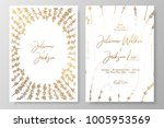 gold wedding invitation with... | Shutterstock .eps vector #1005953569