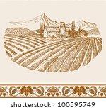 vintage wine label background... | Shutterstock .eps vector #100595749