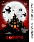 haunted house and full moon... | Shutterstock .eps vector #1005959590