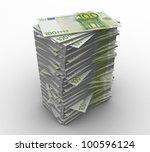 3d paper money 100 euro on a... | Shutterstock . vector #100596124