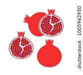 pomegranate set. logo. isolated ... | Shutterstock .eps vector #1005962950