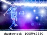 soccer player doing kick with... | Shutterstock . vector #1005963580