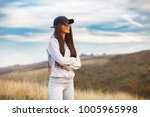 women smiling in sports clothes ... | Shutterstock . vector #1005965998
