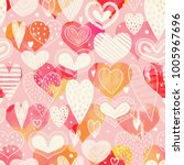 seamless pattern with hearts.... | Shutterstock .eps vector #1005967696