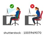 ergonomics   women correct and... | Shutterstock .eps vector #1005969070