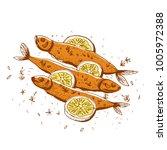 grilled fish  vector... | Shutterstock .eps vector #1005972388