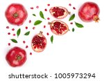 pomegranate with leaves... | Shutterstock . vector #1005973294