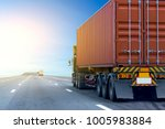 truck on road container ... | Shutterstock . vector #1005983884
