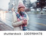 young women on city street... | Shutterstock . vector #1005984478