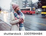 young women on city street... | Shutterstock . vector #1005984484