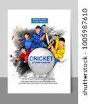 cricket championship batsman... | Shutterstock .eps vector #1005987610