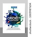cricket championship batsman... | Shutterstock .eps vector #1005987634