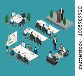 meeting room presentation team... | Shutterstock .eps vector #1005989920