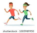 flat style athlete running... | Shutterstock .eps vector #1005989950