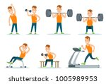 sportsmen pumping iron gym... | Shutterstock .eps vector #1005989953