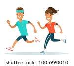 flat style athlete running... | Shutterstock .eps vector #1005990010