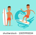 flat young man with surfboard... | Shutterstock .eps vector #1005990034